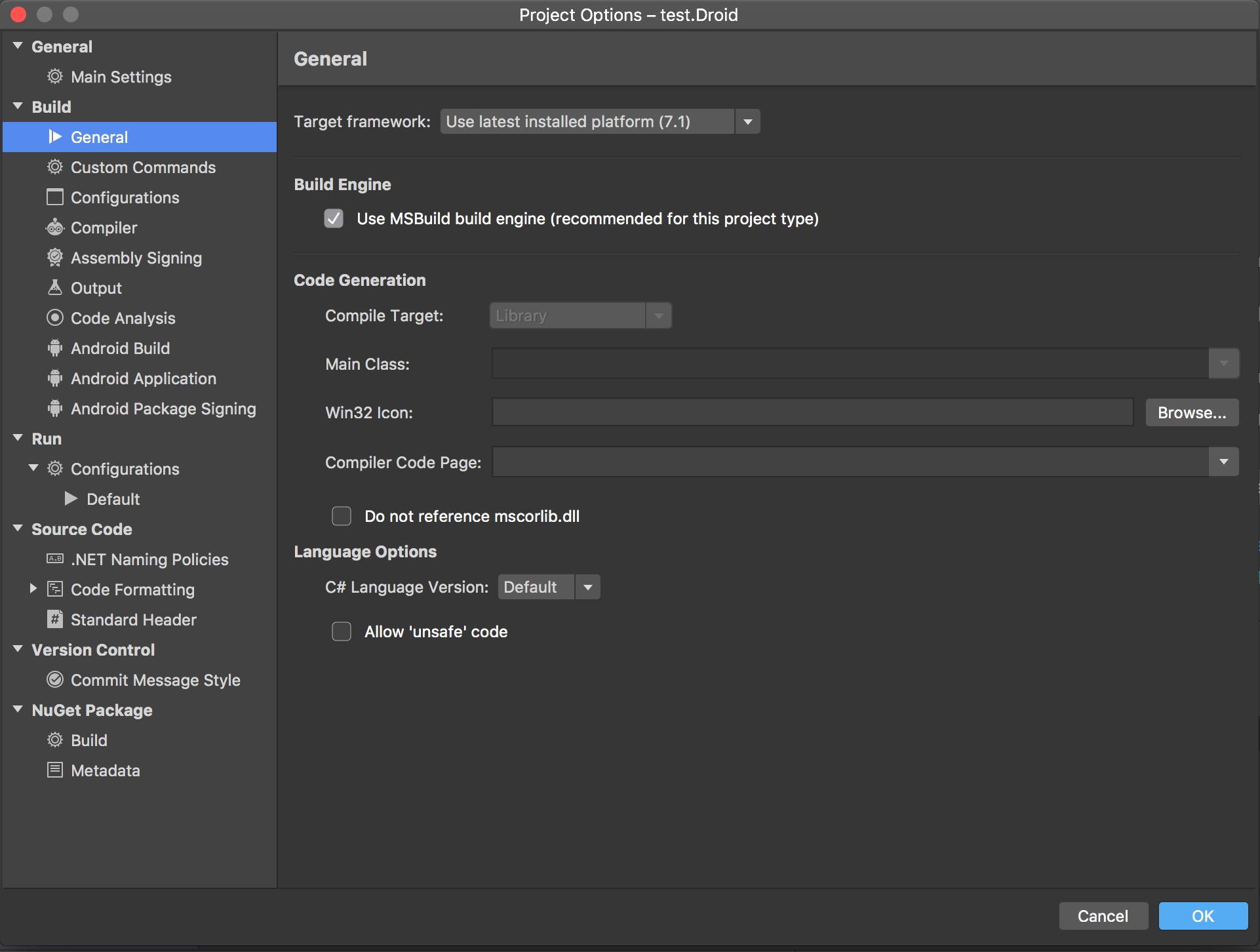 Visual studio mac project options screen