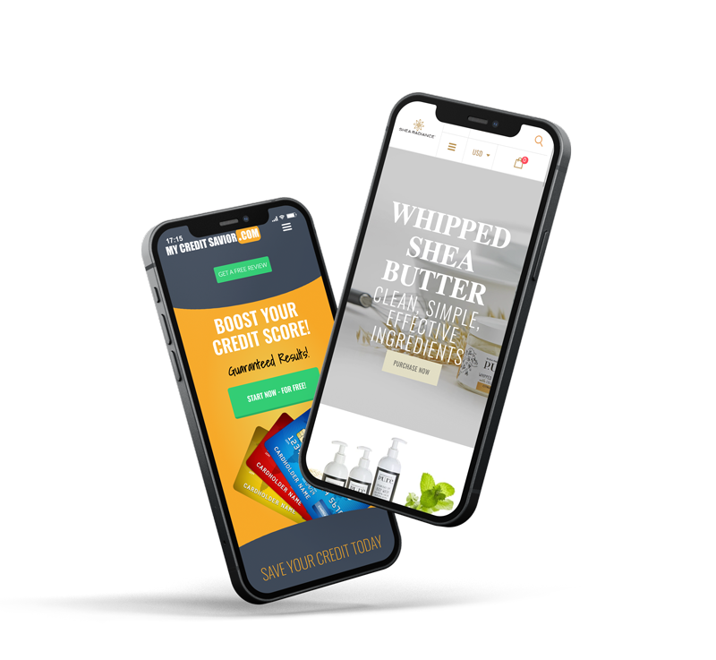 Two phones showing mobile responsive websites